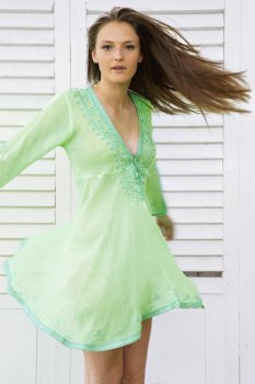 Fluorescent with Turquoise Shimmer Amber Kaftan Dress