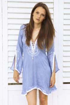 Blue with White Amber Kaftan Dress