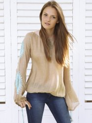 Taupe with Turquoise Flow Tunic Top