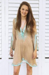 Taupe with Turquoise Amber Kaftan Dress
