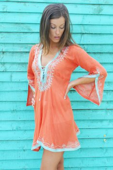 Orange with Turquoise shimmer Amber Kaftan Dress