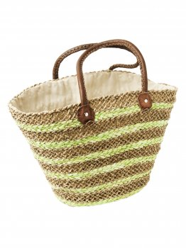 Lime and Natural Drawstring Beach Bag