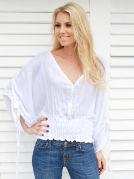 Ella Tunic Top White with White Embroidery