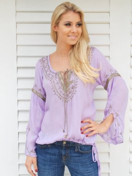 Lilac with Bronze Shimmer Lola Kaftan Top