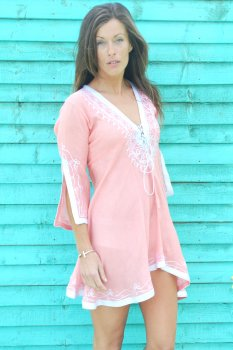 Coral with White Silver Amber Kaftan Dress