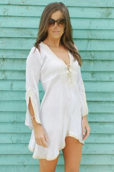 White with Gold Amber Kaftan Dress