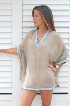 Ambas Short Poncho Taupe with Sky Blue
