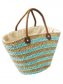 Turquoise and Natural Drawstring Beach Bag